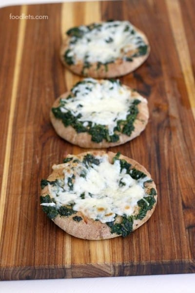 Easy Pita Pizzas with Cheese & Spinach