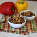 slow cooker rice, beans, beef & peppers