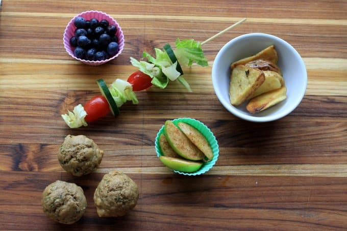 blueberries, salad on a stick , roasted potatoes