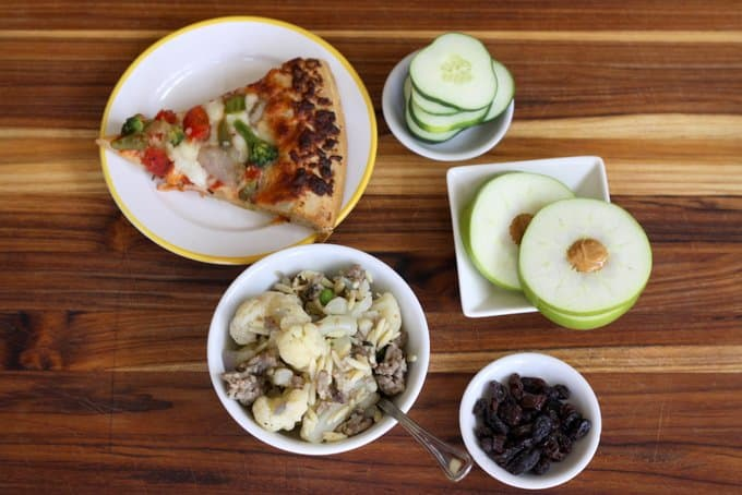 veggie pizza, pasta, cucumber