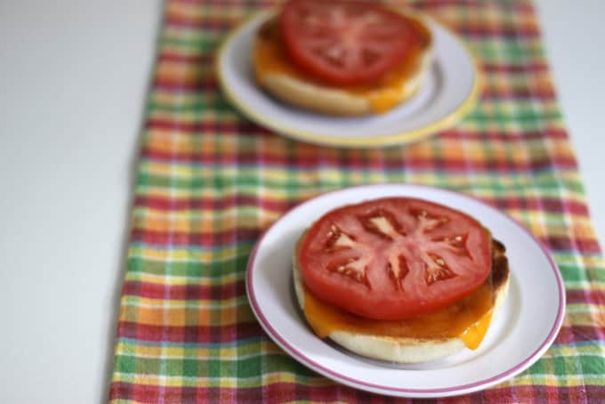 cheesy bagel with tomato V
