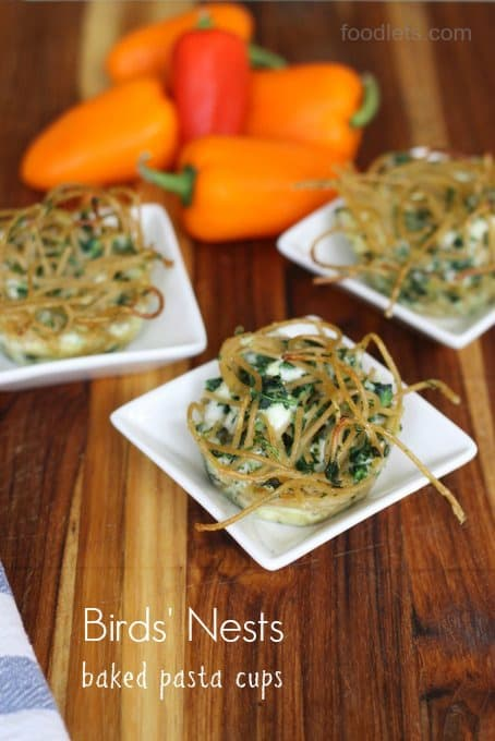 birds' nests, baked pasta cups