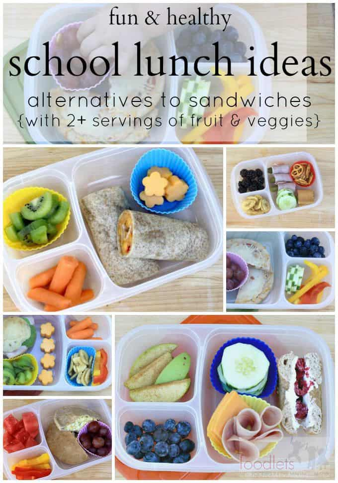 5 pictures of school lunches with 2+ servings of fruit & veggies (plus alternatives to sandwiches!)