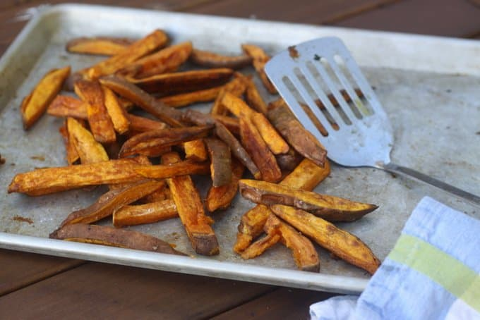 sweet potato fries on the table