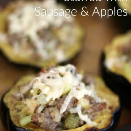 roasted squash stuffed with sausage and apples, foodlets