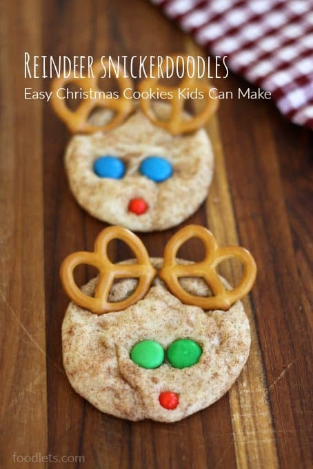 reindeer snickerdoodles, easy christmas cookies kids can make