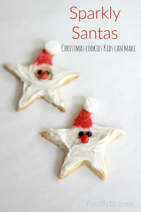 sparkly santas, christmas cookies kids can make