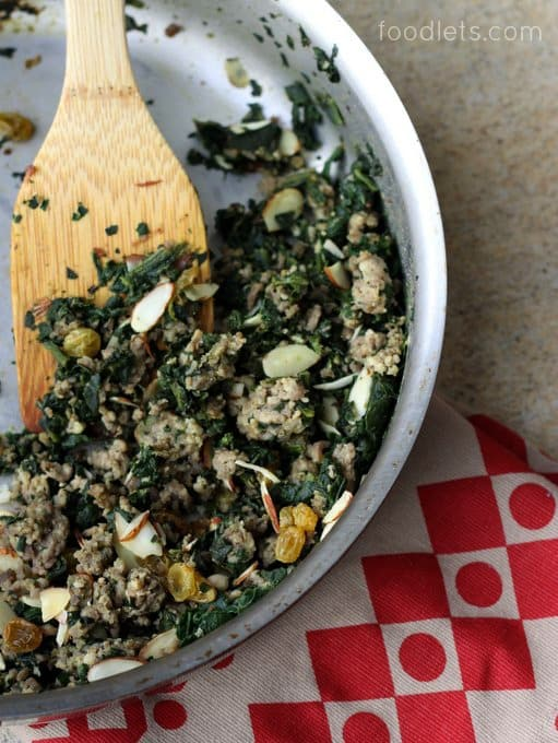 sausage and spinach in pan, 15-minute dinner kids love