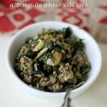 sausage & spinach over rice 15-minute dinner kids love, foodlets