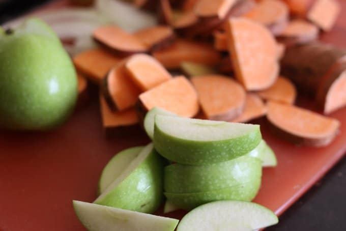 sliced apples and sweet potatoes