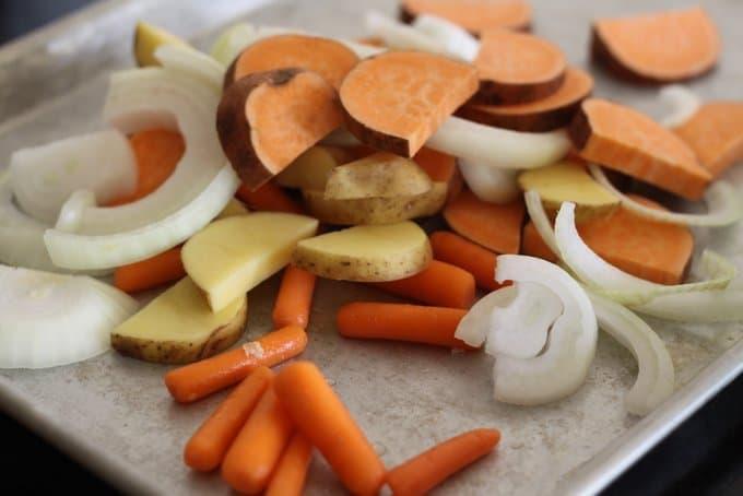 loading sliced veggies on tray