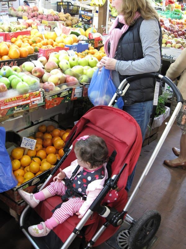 shopping at the market in Italy