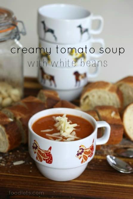 creamy tomato soup with white beans cheese croutons