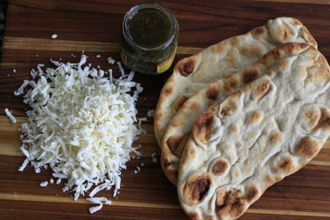 ingredients for pesto naan pizza