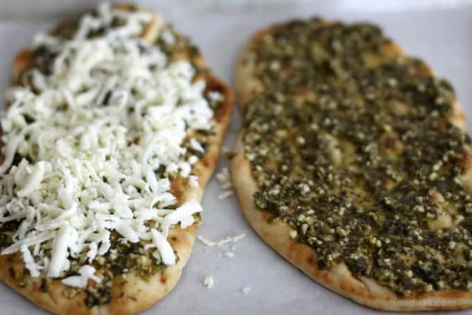 making pesto naan pizza