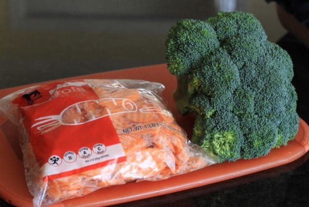 carrot chips and broccoli