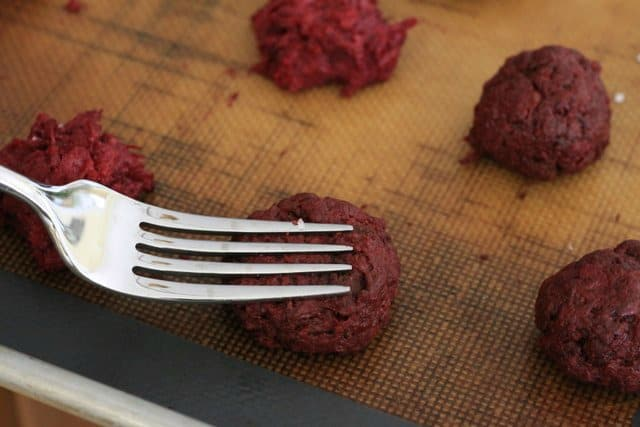 rolled chocolate beet cookies