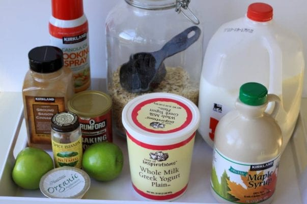 ingredients for apple cinnamon oat muffins
