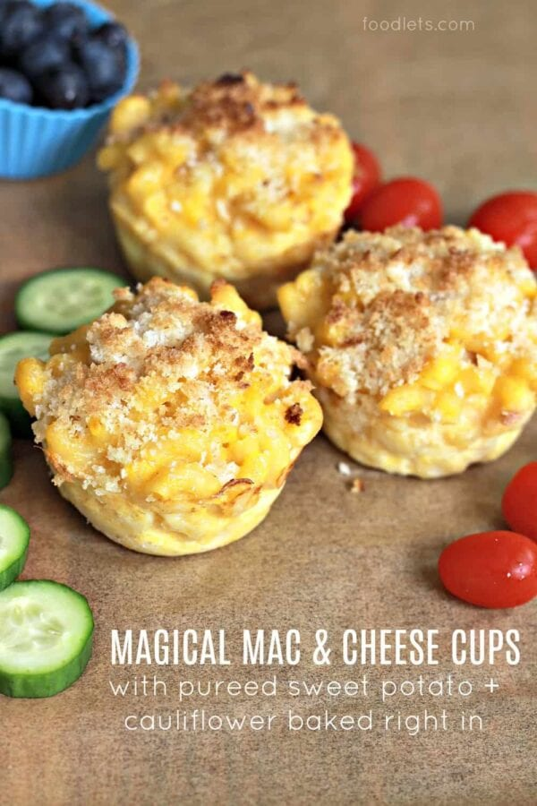 Magical Mac & Cheese Cups (with Pureed Sweet Potato + Cauliflower Baked Right In!)