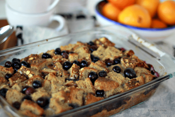 Easy French Toast Casserole with Blueberries