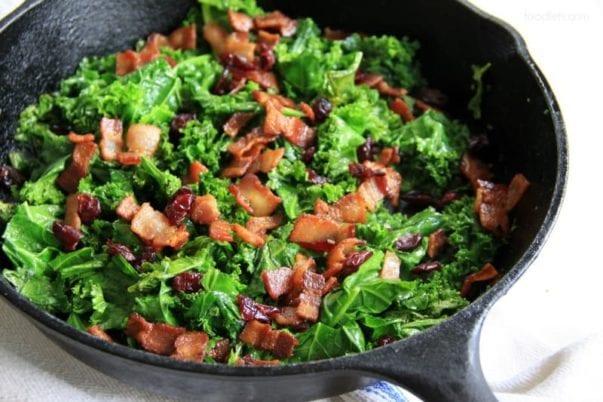 Sautéed Kale with Bacon & Cranberries