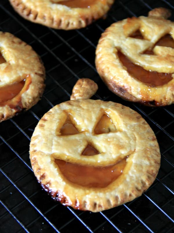 Jack-O-Lantern Apricot Hand Pies for Halloween
