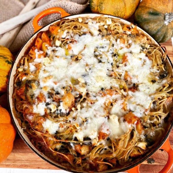 Vegetarian Pasta Bake Creamy Mushroom Butternut Squash Spinach Foodlets